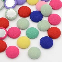Cabochon Rivestito in Tessuto, Base Alluminio,  Tondo 13  mm Tinta Unita,  Colori Assortiti -   4 pz