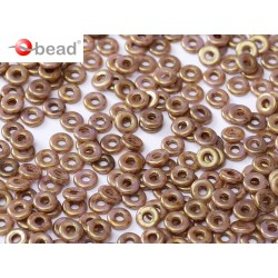 O Bead 4 mm Chalk White Lila Gold Luster - 5 g