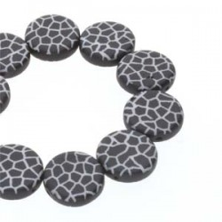 Coin 2-hole 14 mm Black/White Laser Cracked - 4 pcs