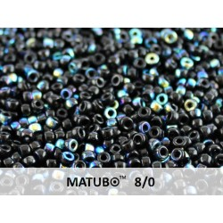 Matubo Seed  Beads   8/0  Jet  AB  -  10 g