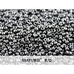 Matubo Seed Beads 8/0 Jet Hematite - 10 g