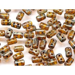 Rulla  Beads  3x5 mm  Amber Dark  Travertin  -  10 g
