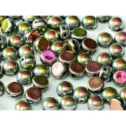2-hole Cabochon 6 mm  Jet Vitrail Full -  10 pcs