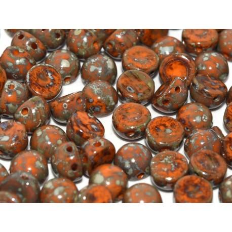 2-hole Cabochon 6 mm Opaque Hyacinth Picasso - 10 pcs