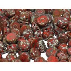 Cabochon Doppio Foro 6 mm  Opaque Red  Picasso  -  10 pz