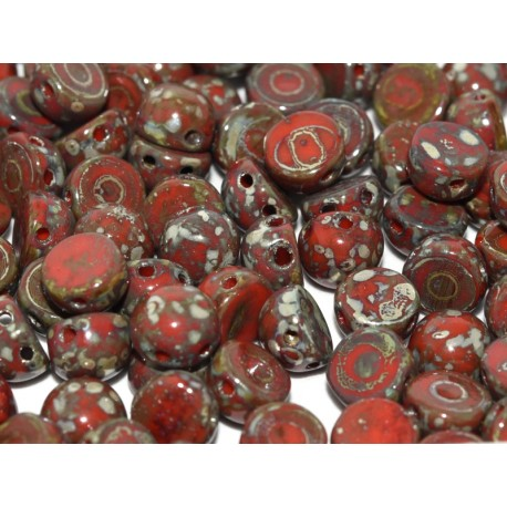 2-hole Cabochon 6 mm Opaque Red  Picasso   -  10 pcs