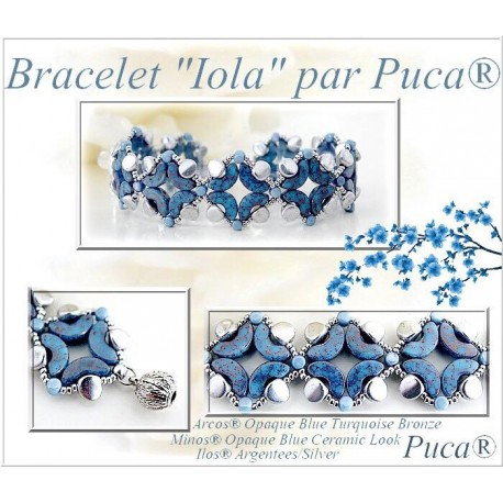 Iola  Braceket  Kit  By Puca  Silver/Light Blue  version  (material kit)