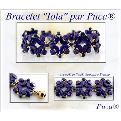 Iola  Braceket  Kit  By Puca  Blue/Gold  version  (material kit)