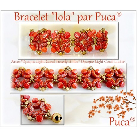 Iola  Braceket  Kit  By Puca  Light Coral/Gold  version  (material kit)