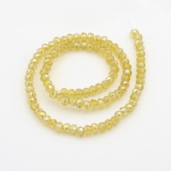 Glass Faceted Oval Beads 3 x 2 mm Light Khaki AB - 1 Strand of about 100 pcs