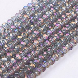 Glass Faceted Oval Beads 3 x 2 mm Violet AB - 1 Strand of about 100 pcs