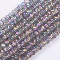 Rondelle Sfaccettate in Vetro 3 x 2  mm  Violet  AB - 1 Filo da circa 100 pz