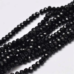 Glass Faceted Oval Beads 3 x 2 mm Black - 1 Strand of about 150 pcs
