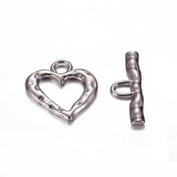 Heart Toggle Clasp  26x23x2   mm, Hematite Color  - 1 pc