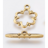 Flower Toggle Clasp   19x15x1,5  mm, Antique Gold Color Plated - 1 pc