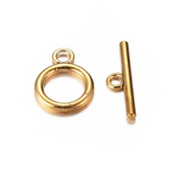 Round Toggle Clasp 14 mm, Antique Gold Color Plated - 1 pc
