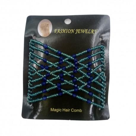 Magic Hair Comb with Glass Seed Beads  90x80 mm, Light Blue/Blue - 1 pc