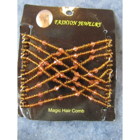 Magic Hair Comb with Glass Seed Beads  90x80 mm, Crystal  - 1 pc