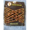 Magic Hair Comb with Glass Seed Beads  90x80 mm, Smoky Topaz - 1 pc