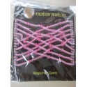 Magic Hair Comb with Glass Seed Beads  90x80 mm, Rosa - 1 pc