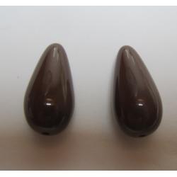 Resin Drops Luster Effect 23x11 mm Dark Brown - 2 pcs
