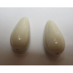 Resin Drops Luster  Effect 23x11 mm  Light Beige   -  2 pcs