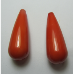 Resin Drop 35x12 mm Orange  -  2 pcs