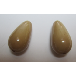 Resin Drop 28x15 mm Dark Beige  -  2 pcs