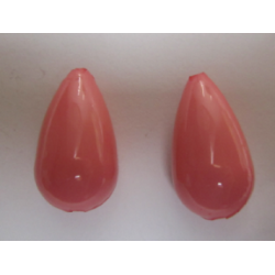 Resin Drop 25x13 mm Rose/Salmon  -  2 pcs