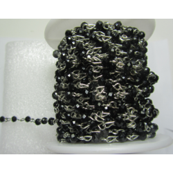 Rosary Chain  Silver Color, Black Faceted Oval Beads 4x3 mm - 50 cm