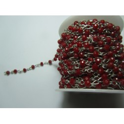 Rosary Chain  Silver Color, Dark Red  Faceted Oval Beads 4x3 mm - 50 cm