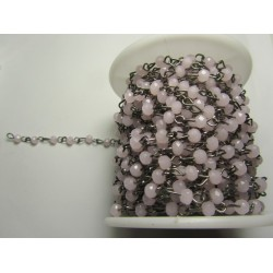 Rosary Chain  Gunmetal  Color,  Light Rose  Faceted Oval Beads 4x3 mm - 50 cm