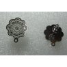 Stainless Steel Flower  Ear Stud  15  mm  Bossed   with Ear Nut -  2 pcs