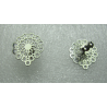 Stainless Steel  Filigree Flower  Ear Stud   15  mm   with Ear Nut -  2 pcs