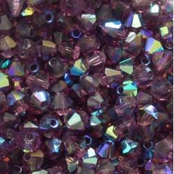 Czech Crystal Bicone  4 mm  Dark Amethyst  AB  - 30 pcs