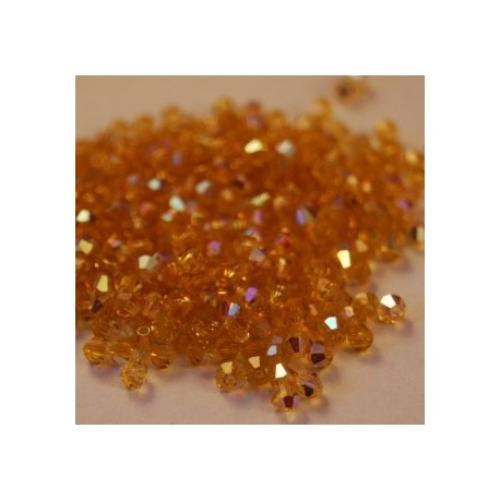 Czech Crystal Bicone  3 mm Topaz AB  - 30 pcs