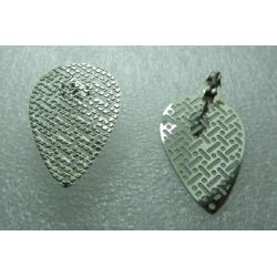 Perno Acciaio Goccia Traforato  25x18 mm   Lucido  con Farfallina -  2 pz