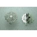 Stainless Steel  Flower Ear Stud 15 mm   Openwork, Shiny  with Ear nut -  2 pcs