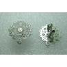 Perno Acciaio Fiore Traforato  15 mm   Lucido   con Farfallina -  2 pz