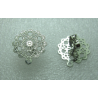 Stainless Steel  Flower Ear Stud 15 mm   Openwork, Shiny  with Ear nut -  2 pcs