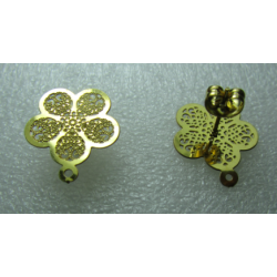 Stainless Steel Flower Ear Stud 5 Petals 15 mm Openwork, Shiny Gold with Ear nut - 2 pcs