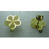 Perno Acciaio Fiore 5 Petali Traforato  15 mm   Dorato  Lucido   con Farfallina -  2 pz