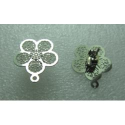Perno Acciaio Fiore 5 Petali Traforato  15 mm   Lucido   con Farfallina -  2 pz