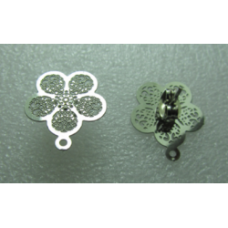 Stainless Steel  Flower Ear Stud  5 Petals 15 mm   Openwork, Shiny  with Ear nut -  2 pcs
