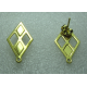 Stainless Steel  Rhombus  Ear Stud 25x14 mm  Shiny Gold  with Ear nut -  2 pcs