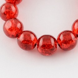 Red Crackle Glass Round Beads  8 mm   - 20 pcs
