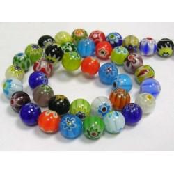 Handmade Millefiori Round Glass Beads 8 mm Mixed Colours - 10 pcs