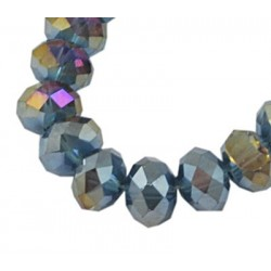 Glass Faceted Oval Beads 8x6 mm Gray AB Color Plated - 1 Strand of about 72 pcs
