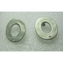 Zamak Holey Plain Disc Ear Stud 18x20 mm Whitened Siver Mat Color - 2 pcs