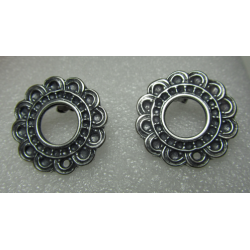 Zamak Openwork Flower Bossed Ear Stud 24 mm Whitened Silver Mat Color - 2 pcs